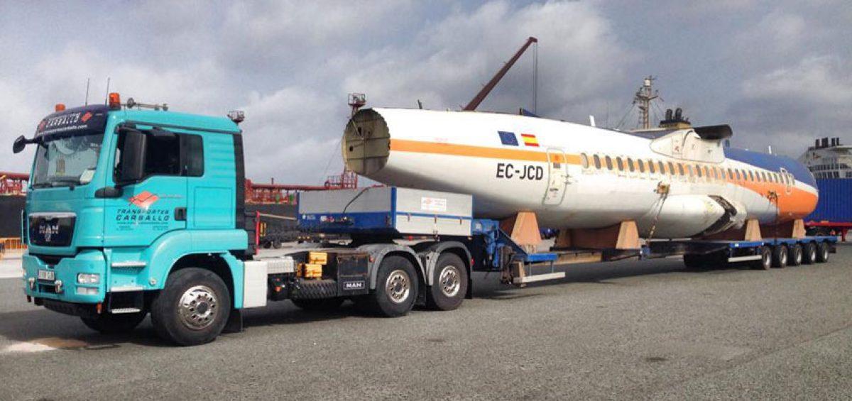Transporte de un avión ATR
